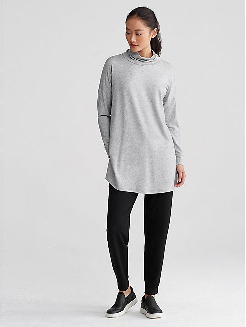 Tencel Terry Funnel Neck Tunic