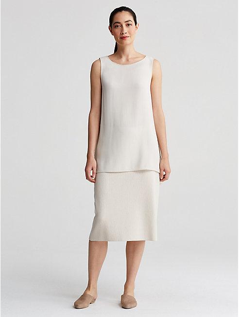 Sleek Tencel Rib Straight Skirt