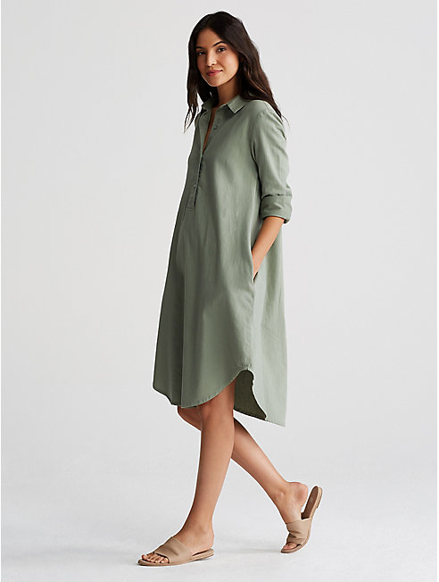 Soft Organic Cotton Twill Henley Dress