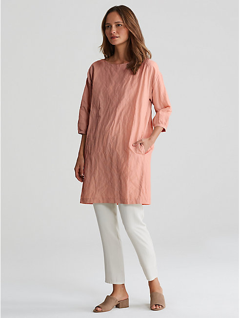 Rumpled Organic Cotton Steel Layering Dress