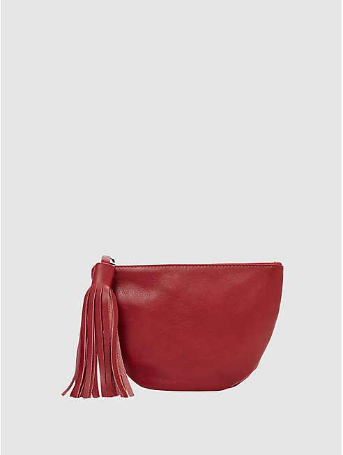 Italian Leather Round Pouch with Tassel