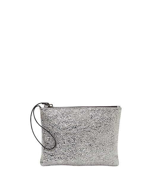 Crackle Coated Leather Wristlet