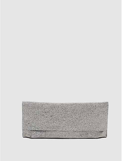 Crackle Coated Leather Fold-Over Clutch