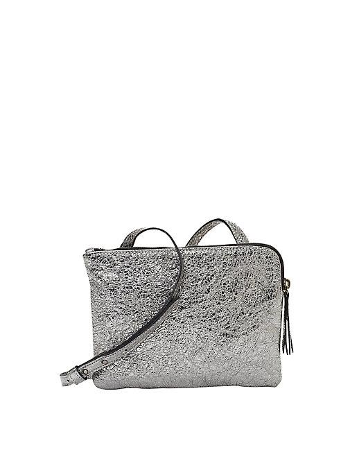 Crackle Coated Leather Shoulder Bag