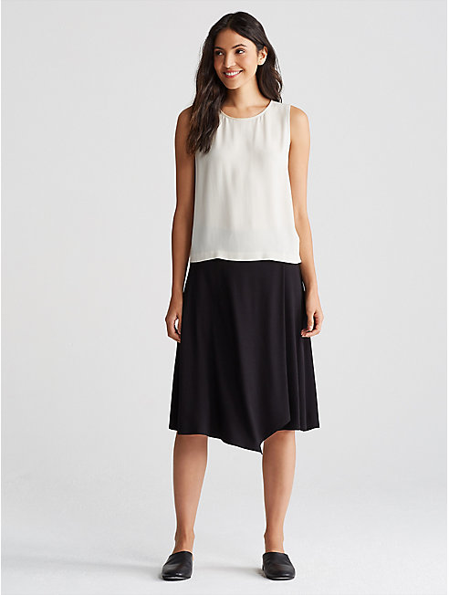 Viscose Jersey Asymmetrical Wrap-Front Skirt
