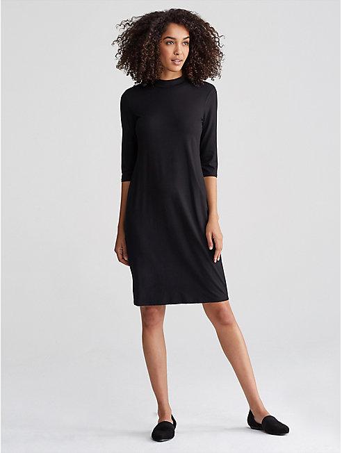 Viscose Jersey Mock Neck Dress
