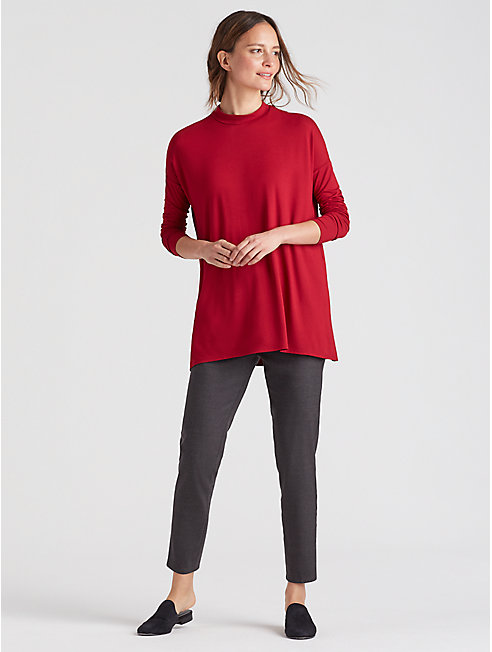 Lightweight Viscose Jersey Mock Neck Tunic