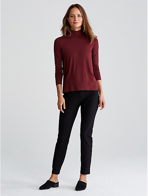 Lightweight Viscose Jersey Slim Turtleneck