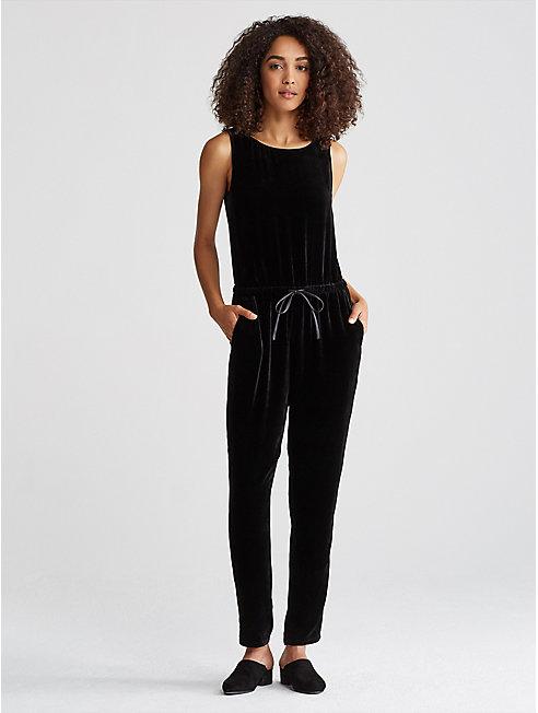 Velvet Drawstring Jumpsuit