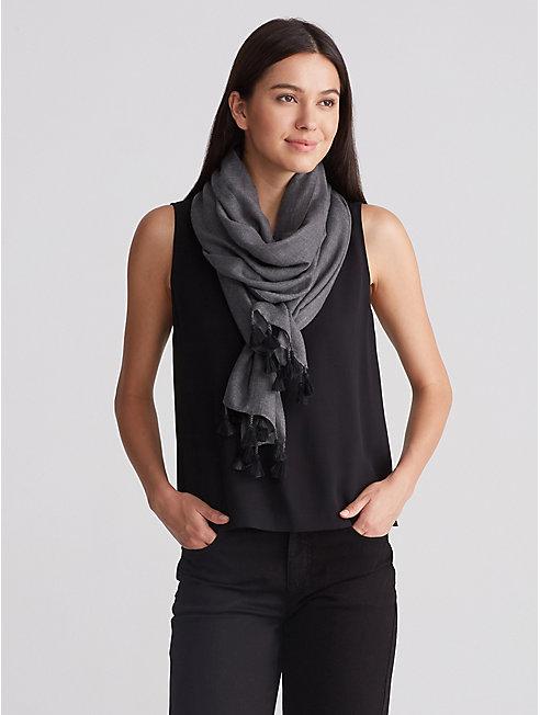 Wool Silk Tassel Scarf