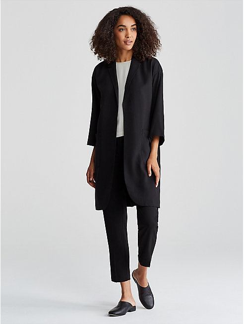 Woven Tencel Notch Collar Jacket