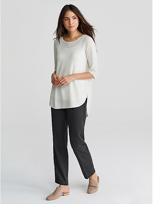 Woven Tencel Straight Ankle Trouser