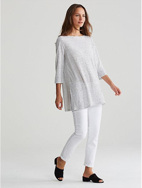 Organic Linen Jersey Stripe A-Line Tunic