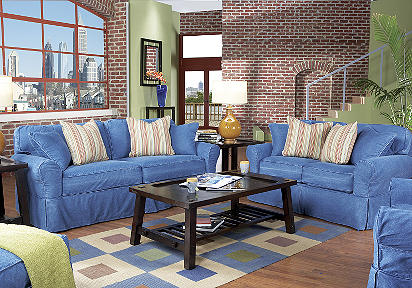 Superieur Review Rooms To Go. Review Rooms To Go. Cindy Crawford Beachside Blue Denim  Sofa ...